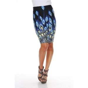 NWT 🦚 Peacock feather print stretch skirt